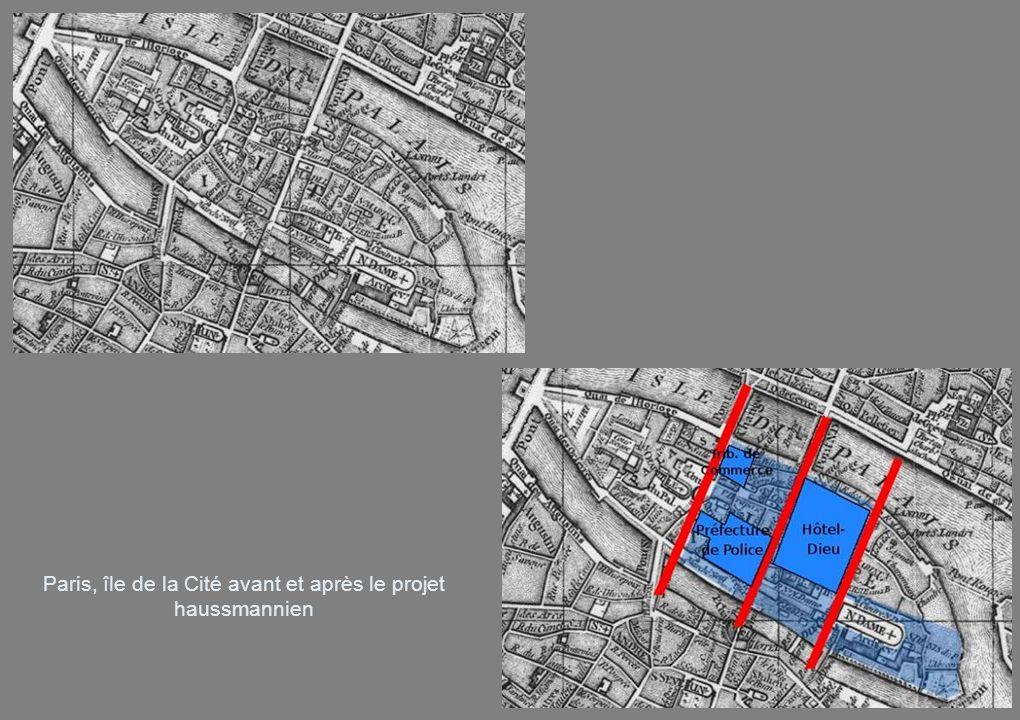 Paris, île de la Cité avant et après le projet haussmannien