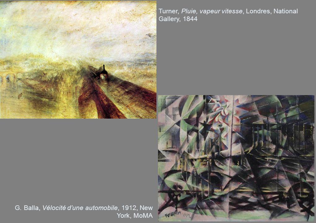 Turner, Pluie, vapeur vitesse, Londres, National Gallery, 1844 G. Balla, Vélocité dune automobile, 1912, New York, MoMA