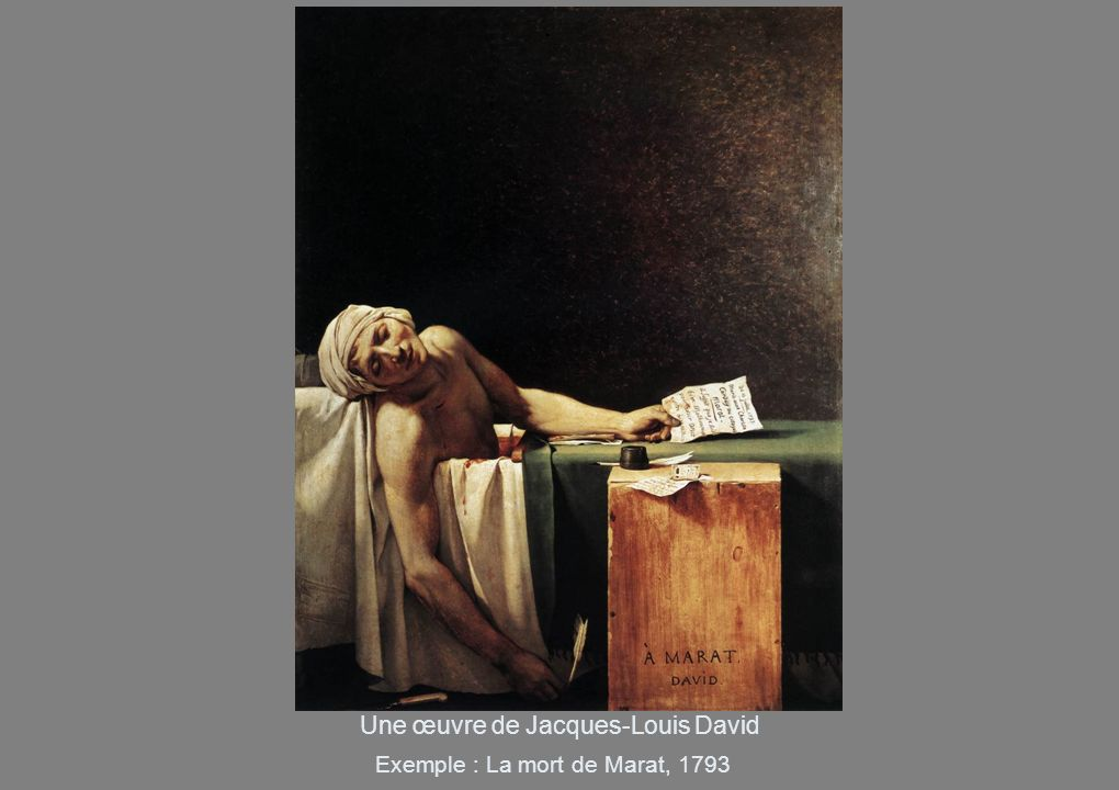 Une œuvre de Jacques-Louis David Exemple : La mort de Marat, 1793