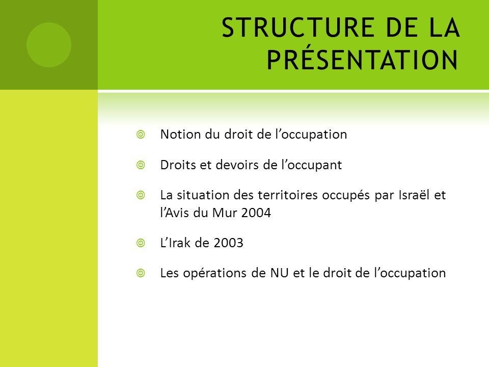 STRUCTURE DE LA PRÉSENTATION Notion du droit de loccupation Droits et devoirs de loccupant La situation des territoires occupés par Israël et lAvis du