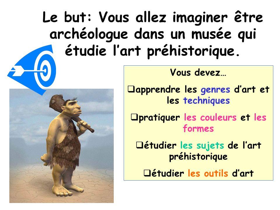 Le but: Vous allez imaginer être archéologue dans un musée qui étudie lart préhistorique.