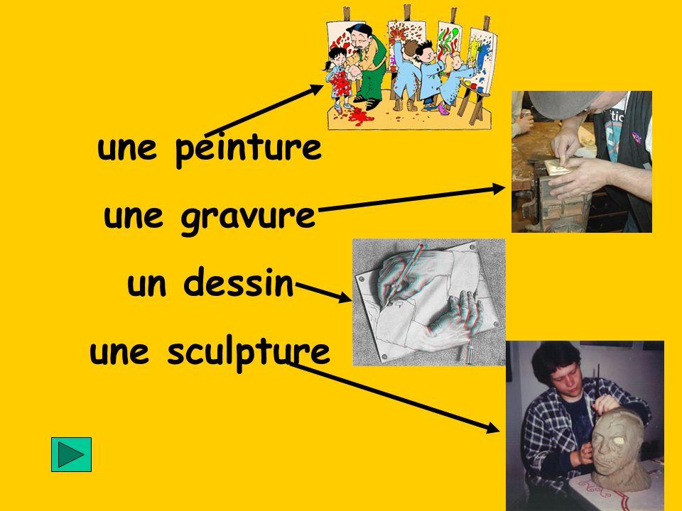 une peinture une gravure un dessin une sculpture