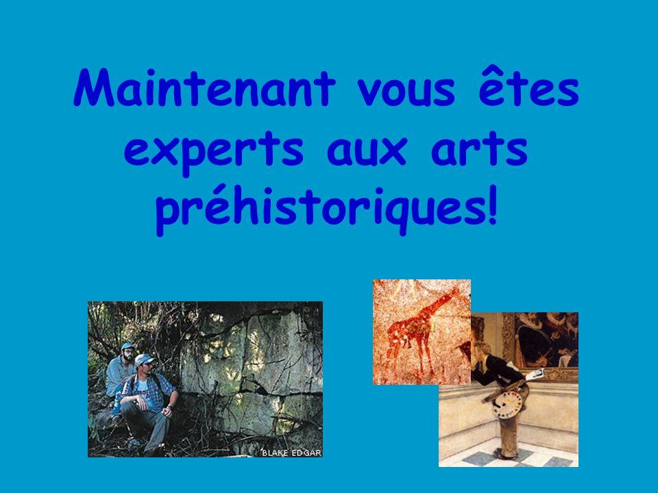 Maintenant vous êtes experts aux arts préhistoriques!