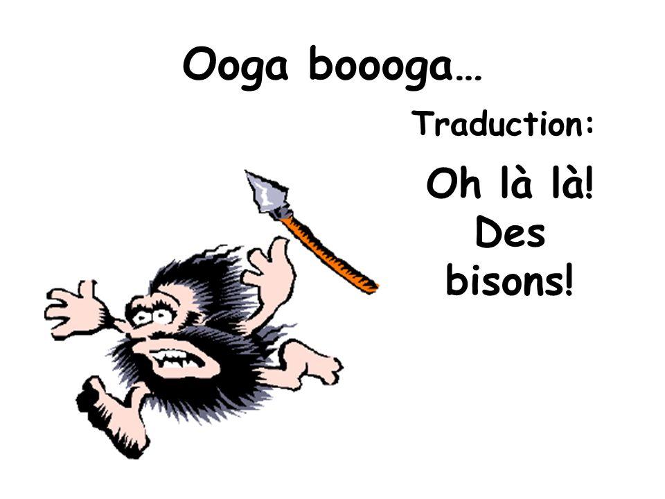 Ooga boooga… Oh là là! Des bisons! Traduction: