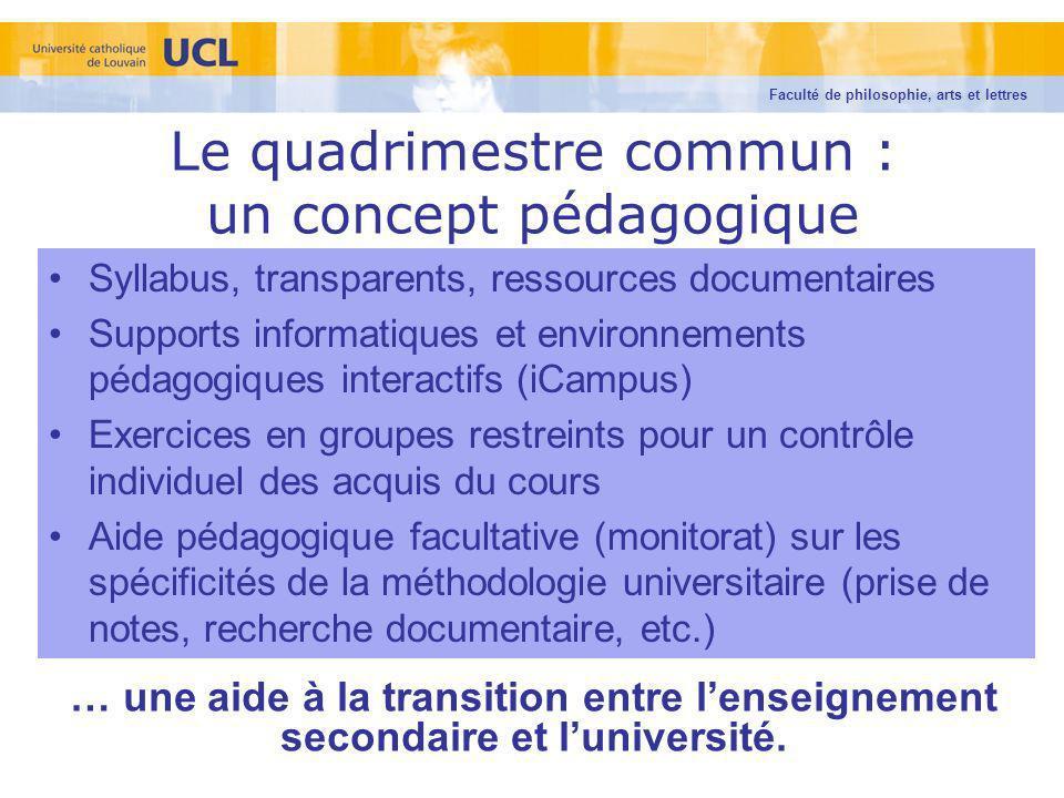 Le quadrimestre commun : un concept pédagogique Syllabus, transparents, ressources documentaires Supports informatiques et environnements pédagogiques