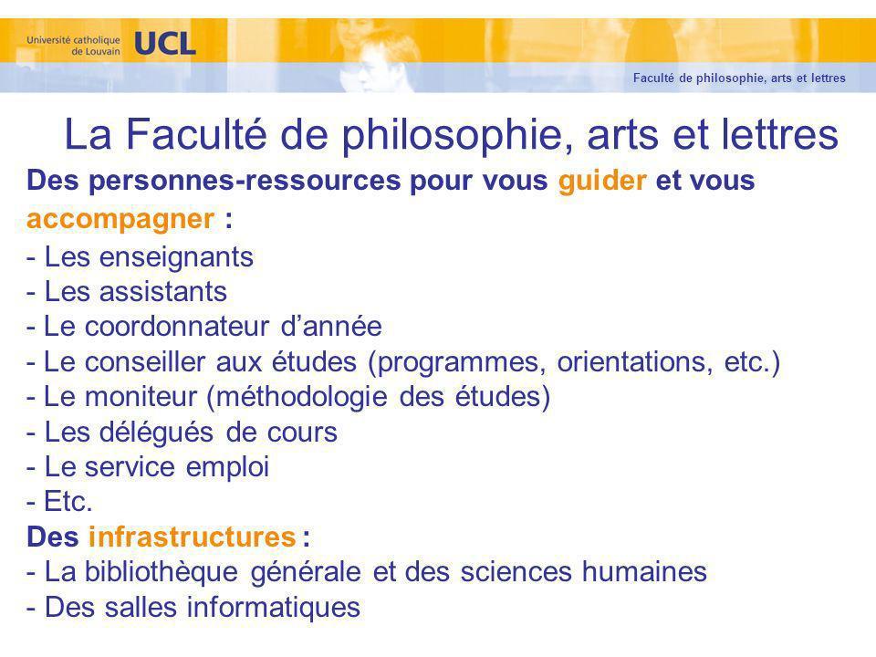 La Faculté de philosophie, arts et lettres Des personnes-ressources pour vous guider et vous accompagner : - Les enseignants - Les assistants - Le coo
