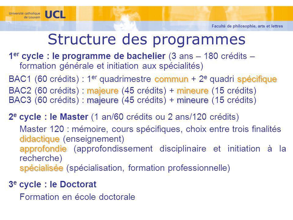 Structure des programmes 1 er cycle : le programme de bachelier (3 ans – 180 crédits – formation générale et initiation aux spécialités) communspécifi