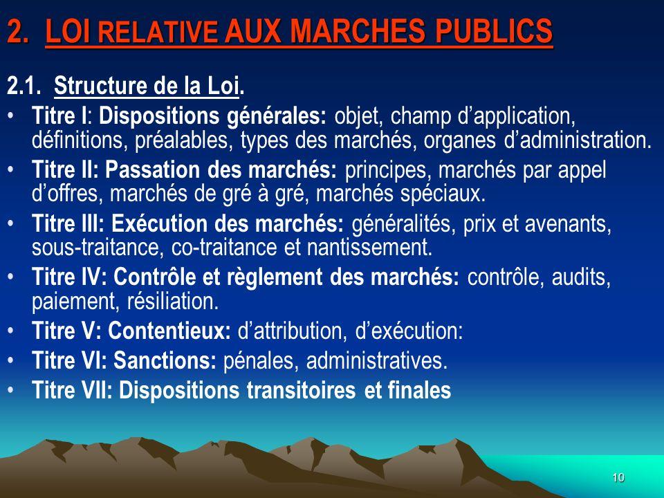 10 2.LOI RELATIVE AUX MARCHES PUBLICS 2.1. Structure de la Loi.