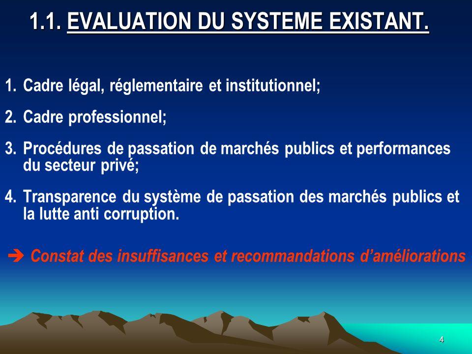 4 1.1.EVALUATION DU SYSTEME EXISTANT.