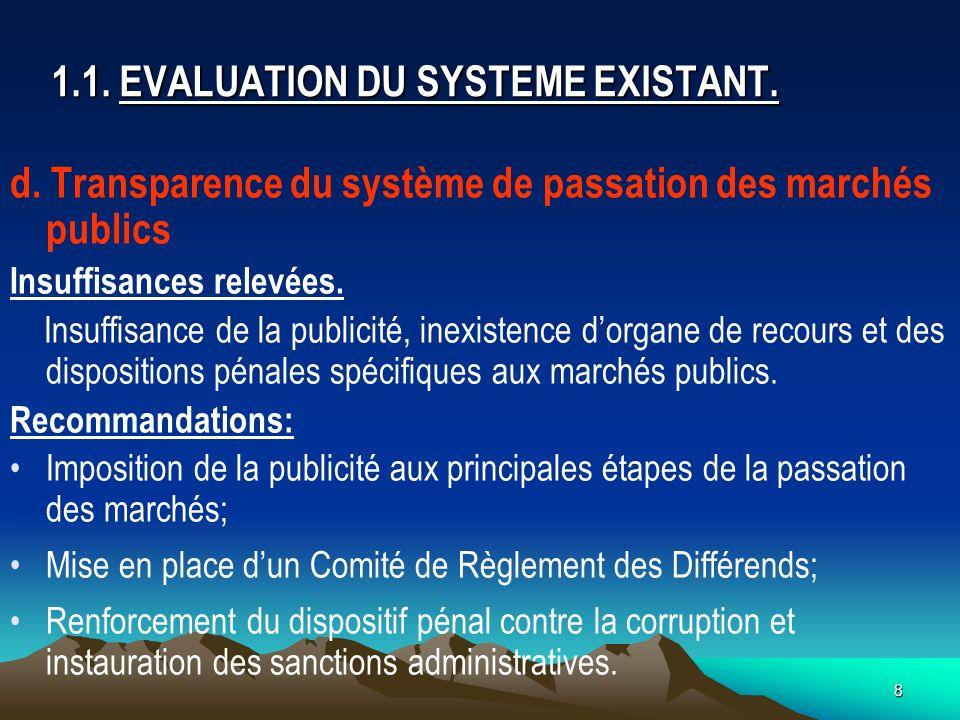 8 1.1.EVALUATION DU SYSTEME EXISTANT. d.