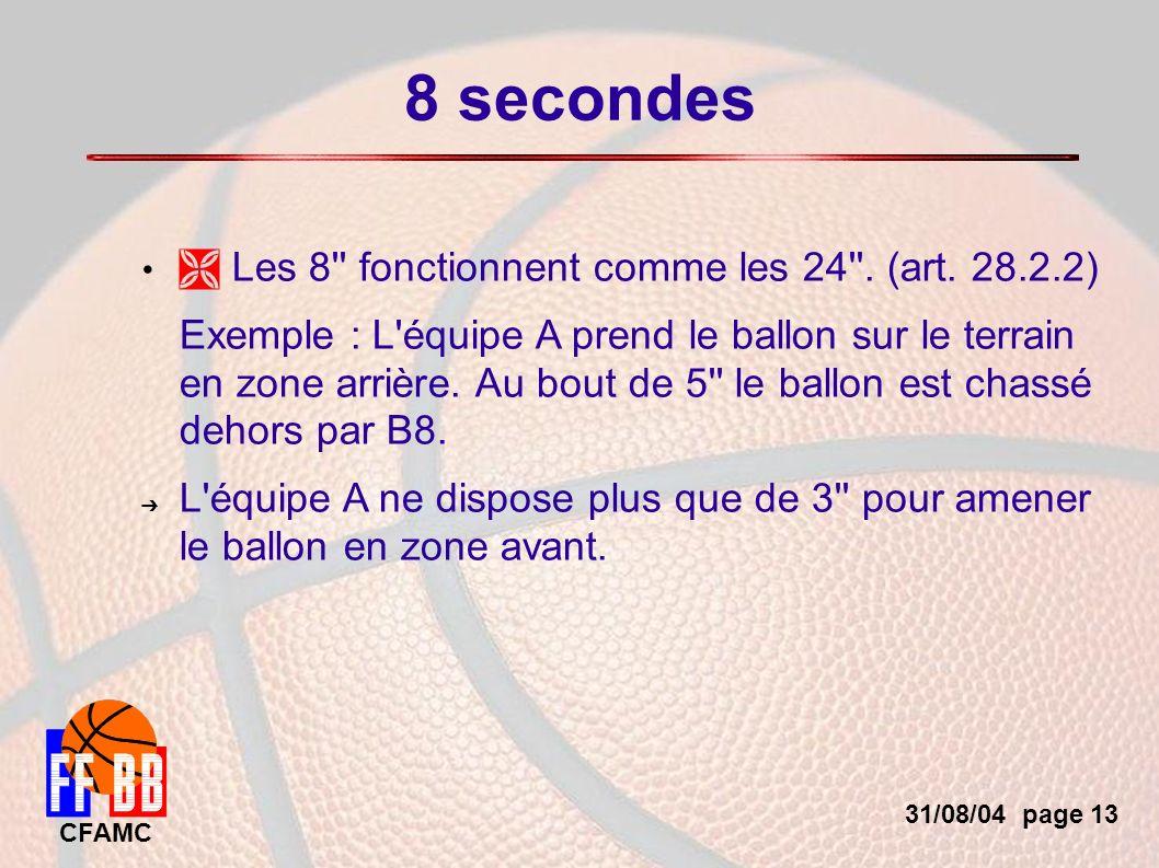 31/08/04 page 13 CFAMC 8 secondes Les 8 fonctionnent comme les 24 .