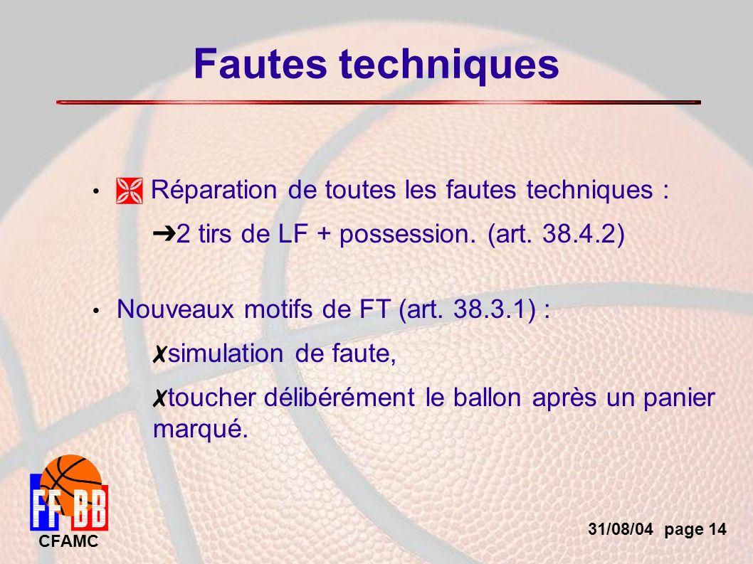 31/08/04 page 14 CFAMC Fautes techniques Réparation de toutes les fautes techniques : 2 tirs de LF + possession.