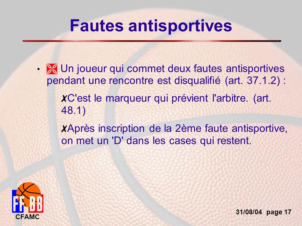 31/08/04 page 17 CFAMC Fautes antisportives Un joueur qui commet deux fautes antisportives pendant une rencontre est disqualifié (art.