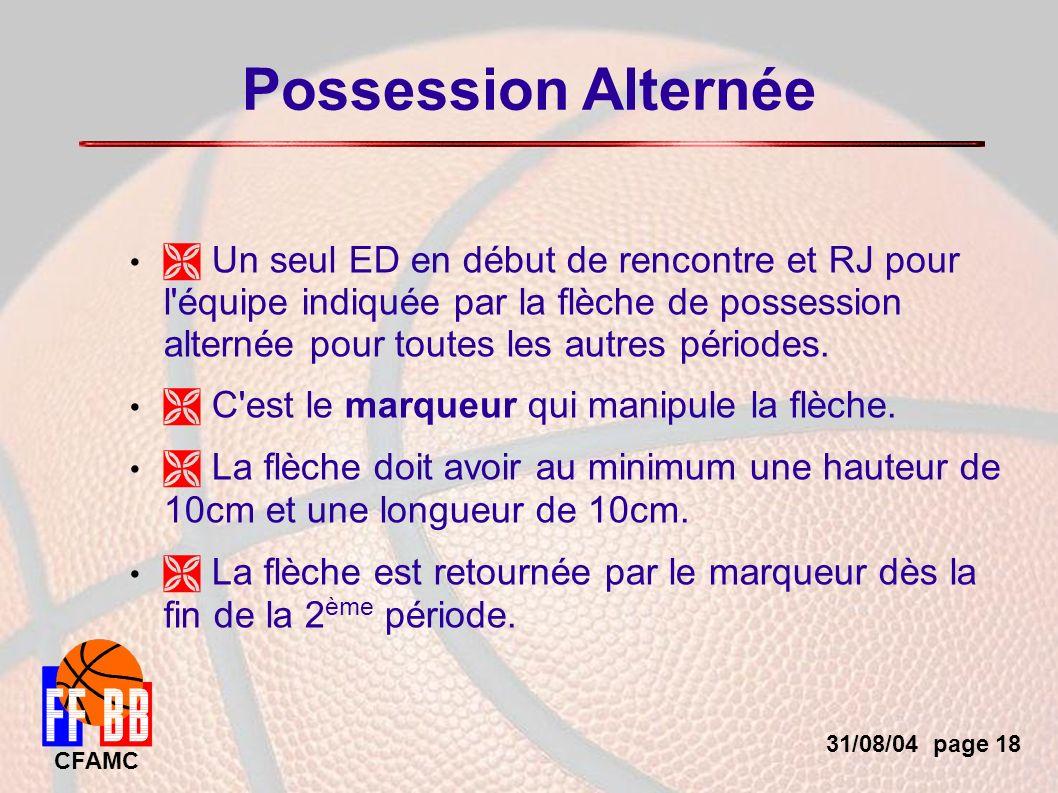 31/08/04 page 18 CFAMC Possession Alternée Un seul ED en début de rencontre et RJ pour l équipe indiquée par la flèche de possession alternée pour toutes les autres périodes.