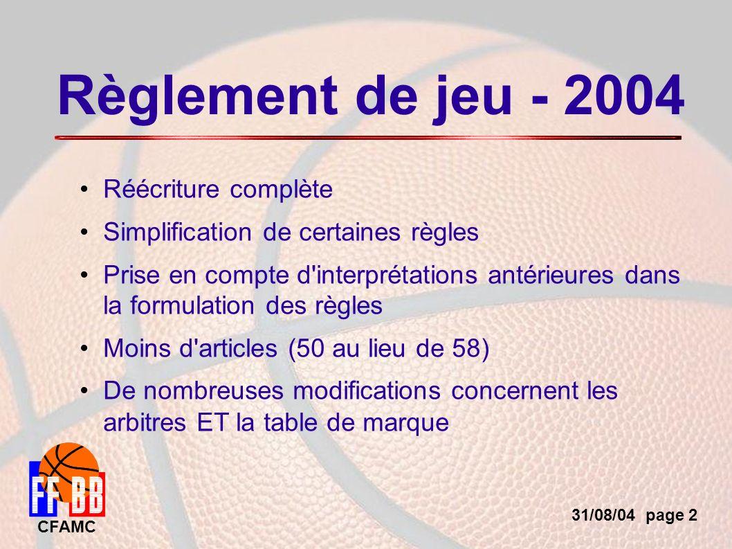 31/08/04 page 23 CFAMC Autres points Seul le coach peut rester debout pendant la rencontre.