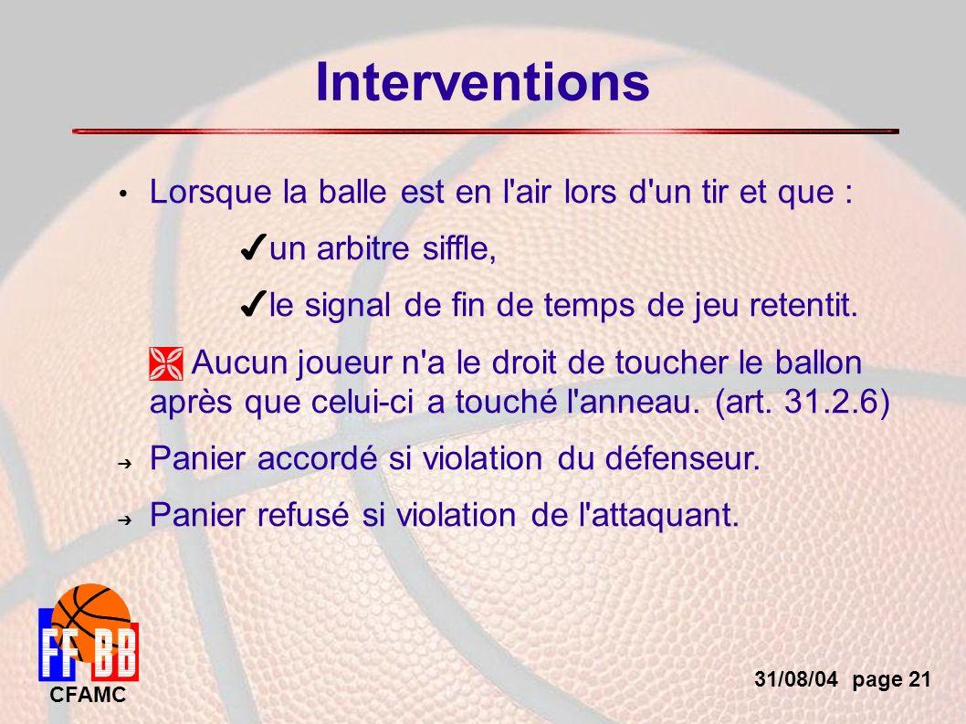 31/08/04 page 21 CFAMC Interventions Lorsque la balle est en l air lors d un tir et que : un arbitre siffle, le signal de fin de temps de jeu retentit.