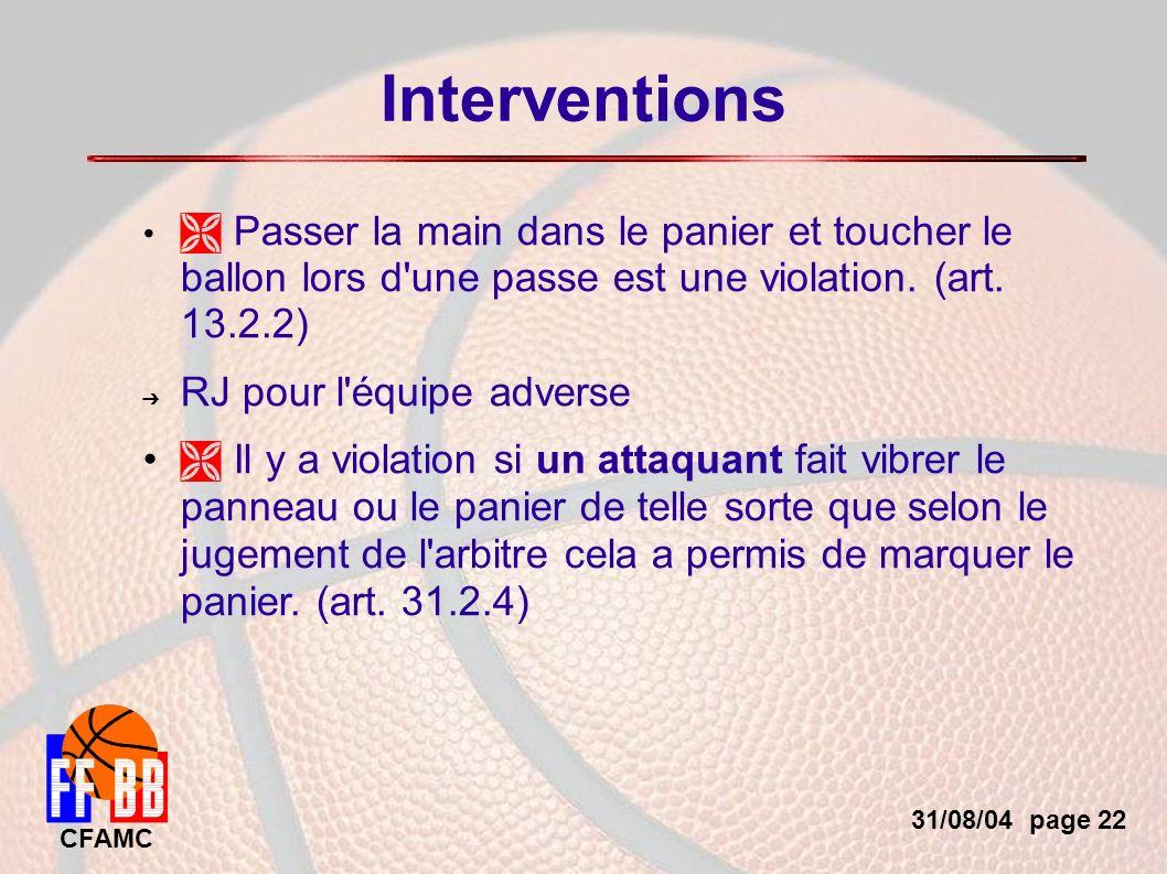 31/08/04 page 22 CFAMC Interventions Passer la main dans le panier et toucher le ballon lors d une passe est une violation.
