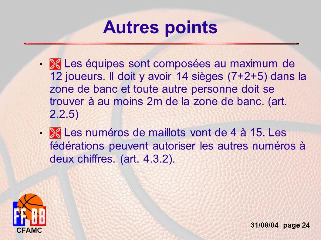 31/08/04 page 24 CFAMC Autres points Les équipes sont composées au maximum de 12 joueurs.