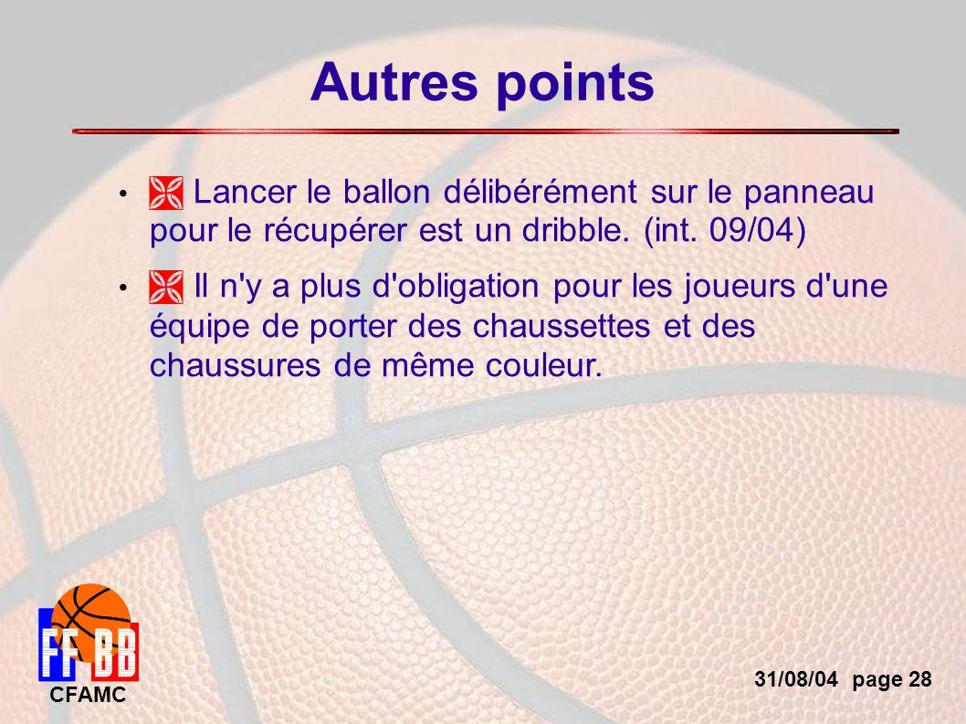 31/08/04 page 28 CFAMC Autres points Lancer le ballon délibérément sur le panneau pour le récupérer est un dribble.