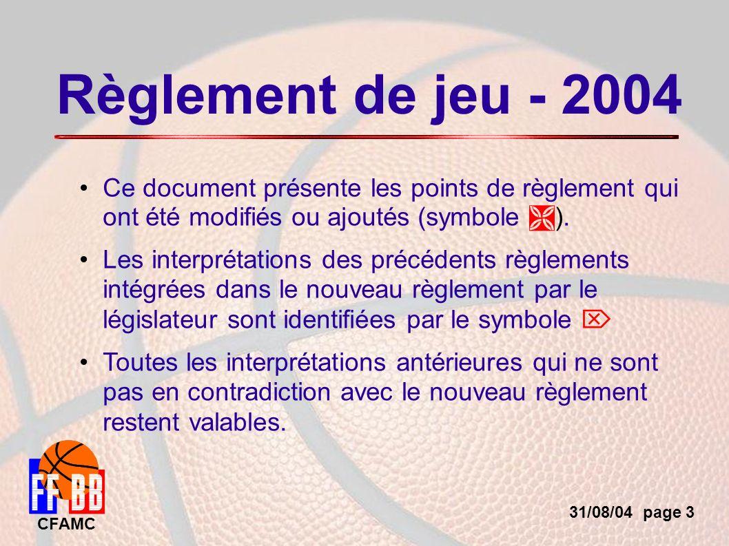 31/08/04 page 4 CFAMC Les modifications importantes concernent les règles suivantes Remplacements / TM Joueur blessé 24 , 8 Fautes techniques et antisportives Possession alternée Interventions Mécanique d arbitrage