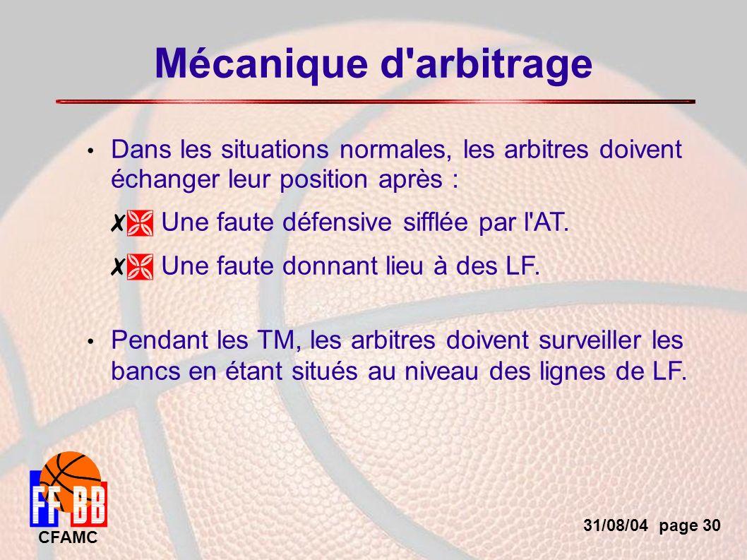 31/08/04 page 30 CFAMC Mécanique d arbitrage Dans les situations normales, les arbitres doivent échanger leur position après : Une faute défensive sifflée par l AT.