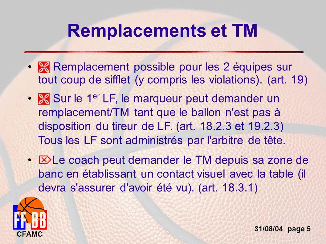31/08/04 page 26 CFAMC Autres points Lorsqu un joueur exclu pour 5 fautes revient volontairement sur le terrain son entraîneur est sanctionné d une faute B (au lieu de C ).