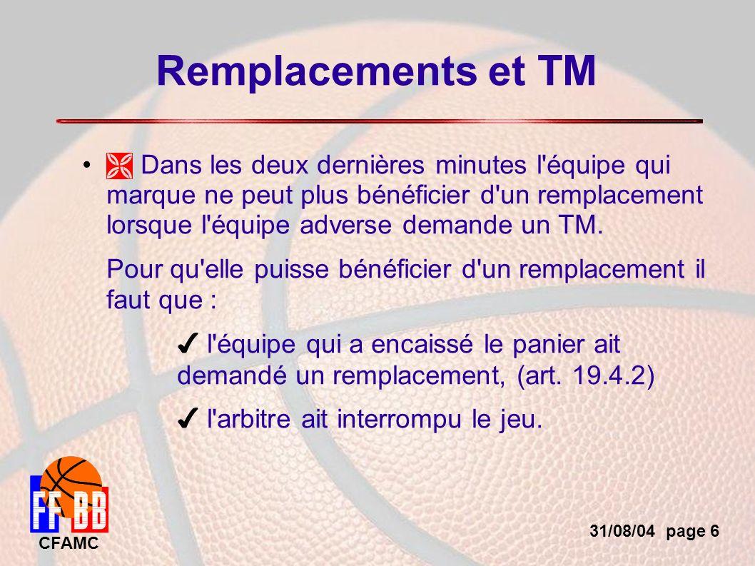 31/08/04 page 6 CFAMC Remplacements et TM Dans les deux dernières minutes l équipe qui marque ne peut plus bénéficier d un remplacement lorsque l équipe adverse demande un TM.