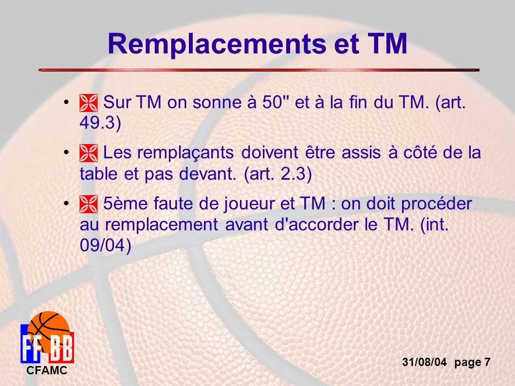 31/08/04 page 7 CFAMC Remplacements et TM Sur TM on sonne à 50 et à la fin du TM.