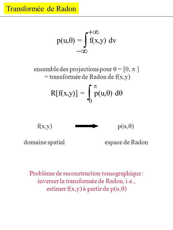 Transformée de Radon p(u, ) = f(x,y) dv ensemble des projections pour = [0, ] = transformée de Radon de f(x,y) R[f(x,y)] = p(u, ) d 0 f(x,y) domaine s