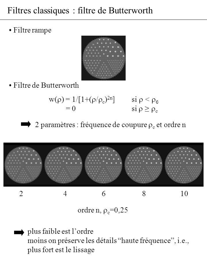 Filtres classiques : filtre de Butterworth Filtre rampe Filtre de Butterworth ordre n, c =0,25 2 4 6 8 10 plus faible est lordre moins on préserve les