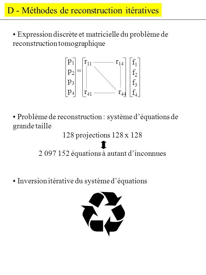 D - Méthodes de reconstruction itératives Expression discrète et matricielle du problème de reconstruction tomographique Problème de reconstruction :