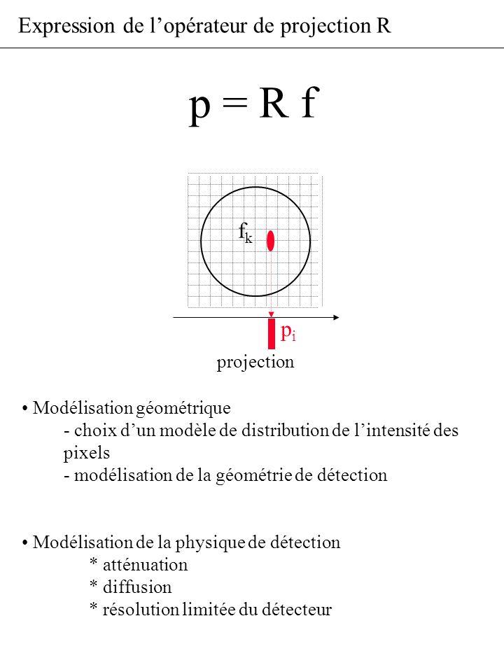 Expression de lopérateur de projection R pipi projection fkfk Modélisation géométrique - choix dun modèle de distribution de lintensité des pixels - m