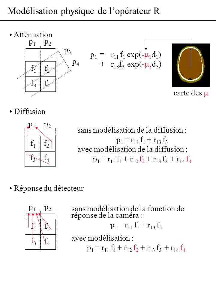 Modélisation physique de lopérateur R Atténuation Diffusion Réponse du détecteur sans modélisation de la diffusion : p 1 = r 11 f 1 + r 13 f 3 avec mo