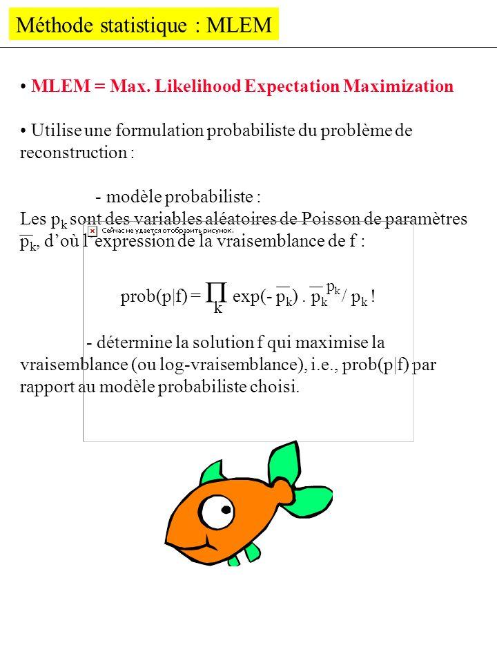 Méthode statistique : MLEM MLEM = Max. Likelihood Expectation Maximization Utilise une formulation probabiliste du problème de reconstruction : - modè