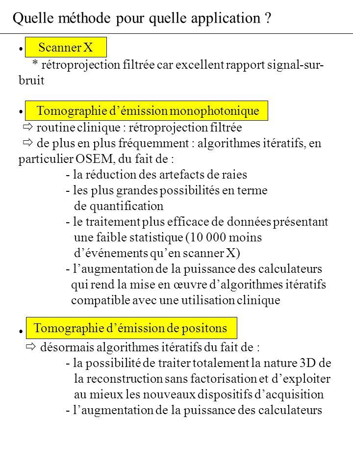Quelle méthode pour quelle application ? Scanner X * rétroprojection filtrée car excellent rapport signal-sur- bruit Tomographie démission monophotoni