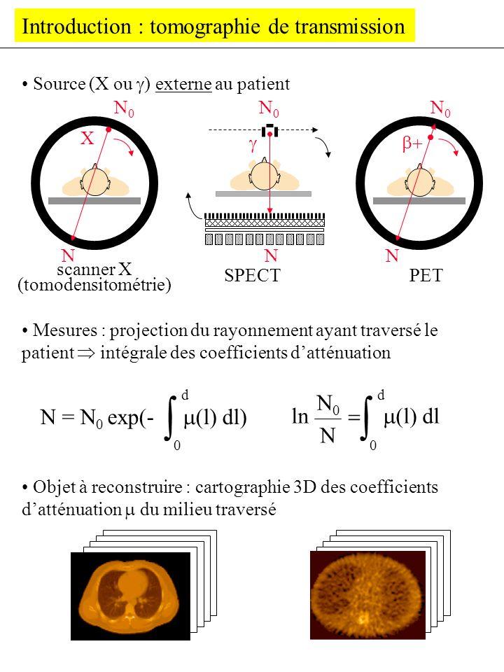 Introduction : tomographie de transmission scanner X (tomodensitométrie) SPECTPET Source (X ou ) externe au patient Mesures : projection du rayonnemen