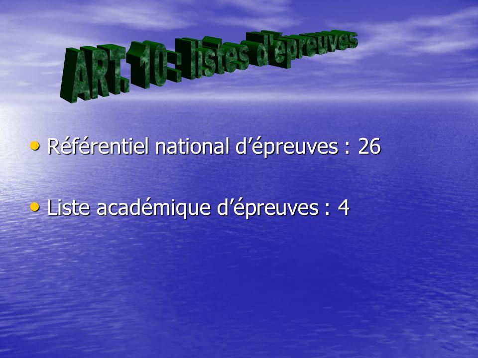 Référentiel national dépreuves : 26 Référentiel national dépreuves : 26 Liste académique dépreuves : 4 Liste académique dépreuves : 4