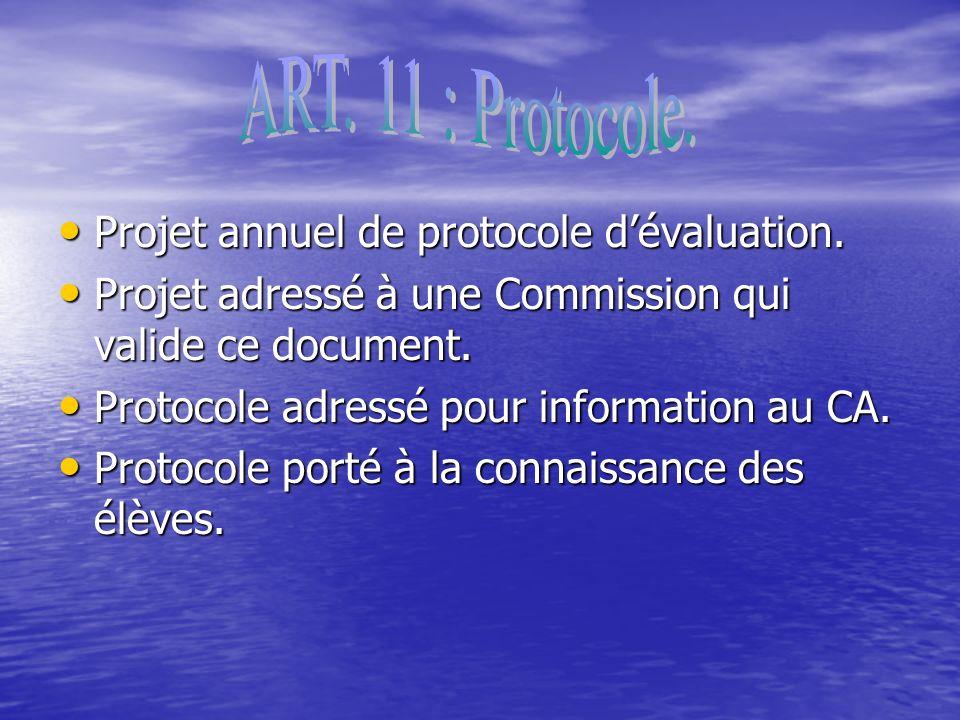 Projet annuel de protocole dévaluation. Projet annuel de protocole dévaluation.