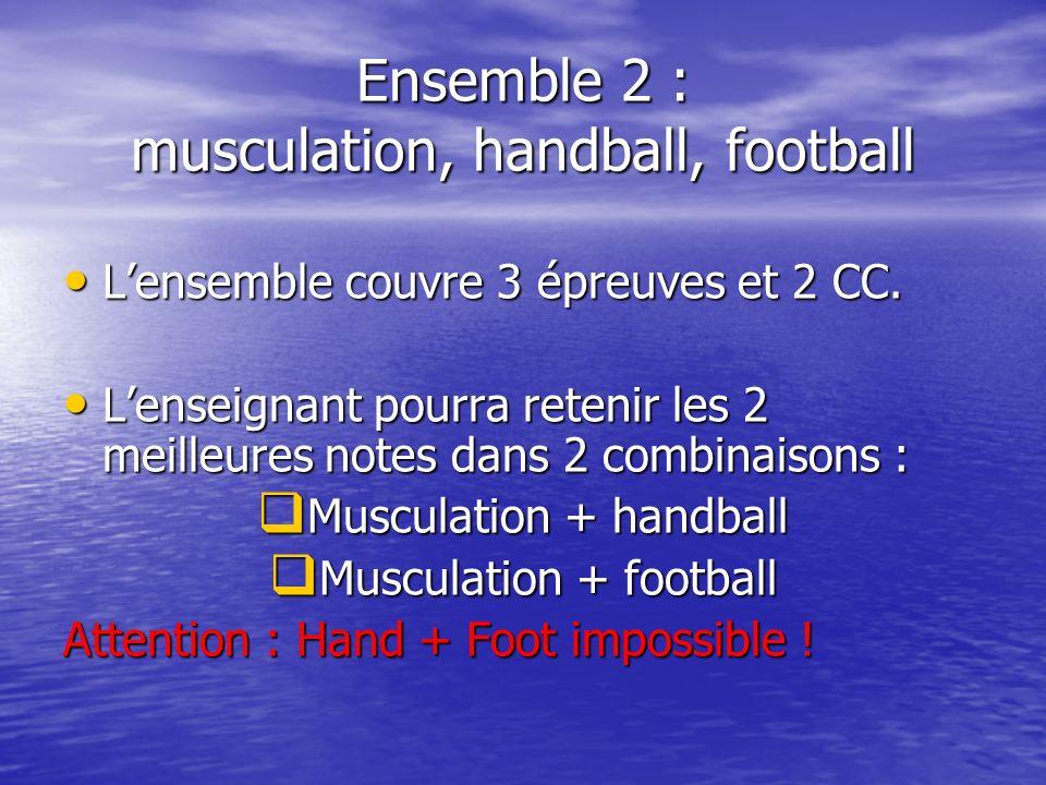 Ensemble 2 : musculation, handball, football Lensemble couvre 3 épreuves et 2 CC.