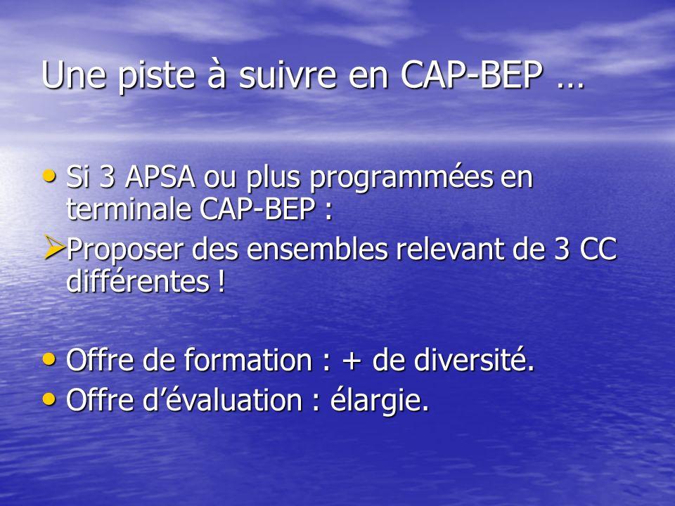 Une piste à suivre en CAP-BEP … Si 3 APSA ou plus programmées en terminale CAP-BEP : Si 3 APSA ou plus programmées en terminale CAP-BEP : Proposer des ensembles relevant de 3 CC différentes .