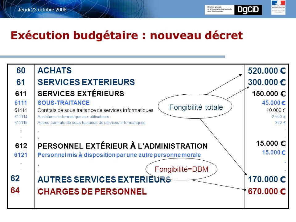5 octobre 2006 Jeudi 23 octobre 2008 Exécution budgétaire : nouveau décret 60 61 611 6111 61111 611114 611118.