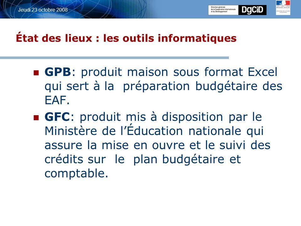 5 octobre 2006 Jeudi 23 octobre 2008 État des lieux : les outils informatiques GPB: produit maison sous format Excel qui sert à la préparation budgétaire des EAF.