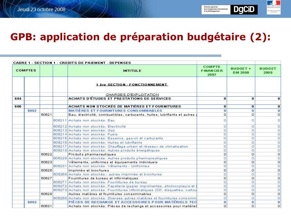 5 octobre 2006 Jeudi 23 octobre 2008 GPB: application de préparation budgétaire (2):