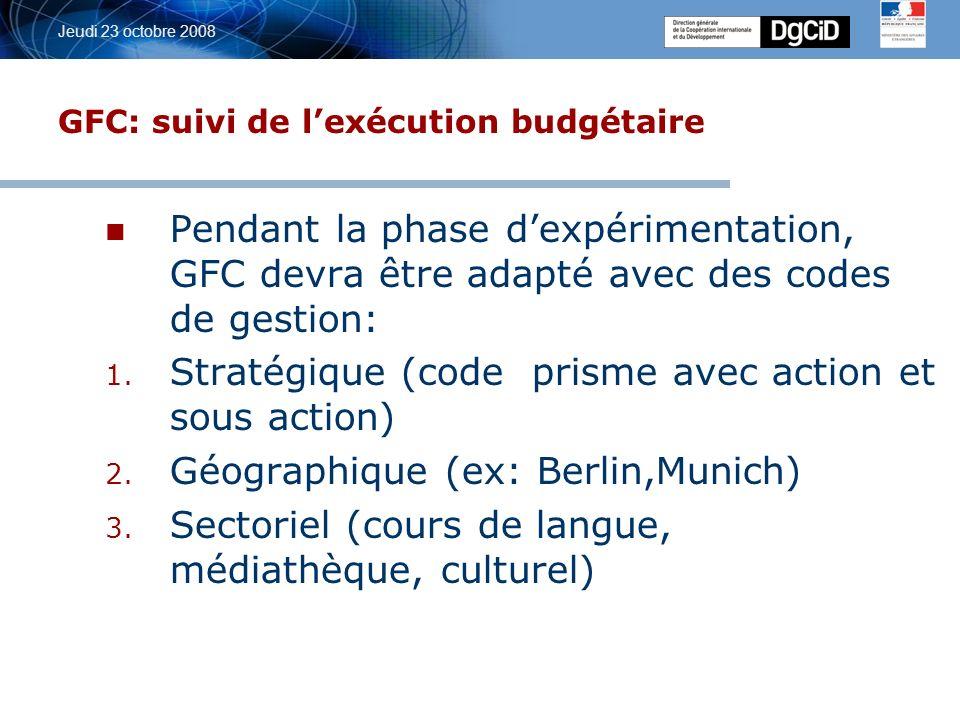 5 octobre 2006 Jeudi 23 octobre 2008 GFC: suivi de lexécution budgétaire Pendant la phase dexpérimentation, GFC devra être adapté avec des codes de gestion: 1.