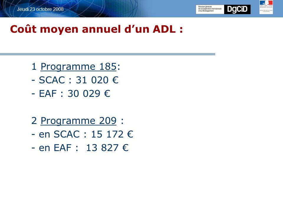5 octobre 2006 Jeudi 23 octobre 2008 Coût moyen annuel dun ADL : 1 Programme 185: - SCAC : 31 020 - EAF : 30 029 2 Programme 209 : - en SCAC : 15 172 - en EAF : 13 827