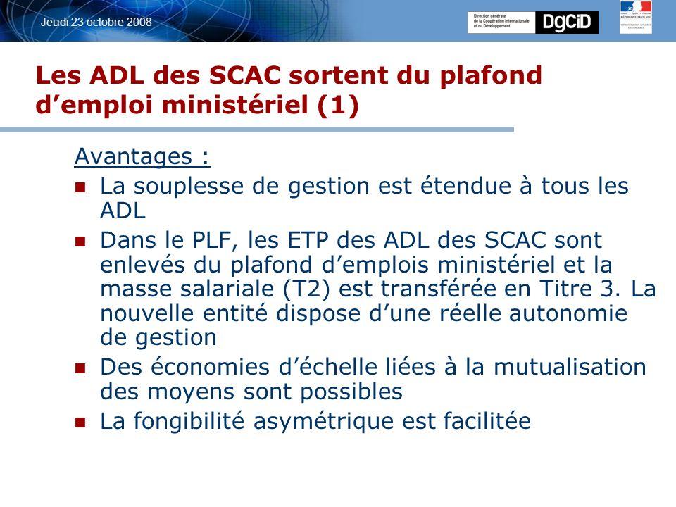 5 octobre 2006 Jeudi 23 octobre 2008 Les ADL des SCAC sortent du plafond demploi ministériel (1) Avantages : La souplesse de gestion est étendue à tous les ADL Dans le PLF, les ETP des ADL des SCAC sont enlevés du plafond demplois ministériel et la masse salariale (T2) est transférée en Titre 3.