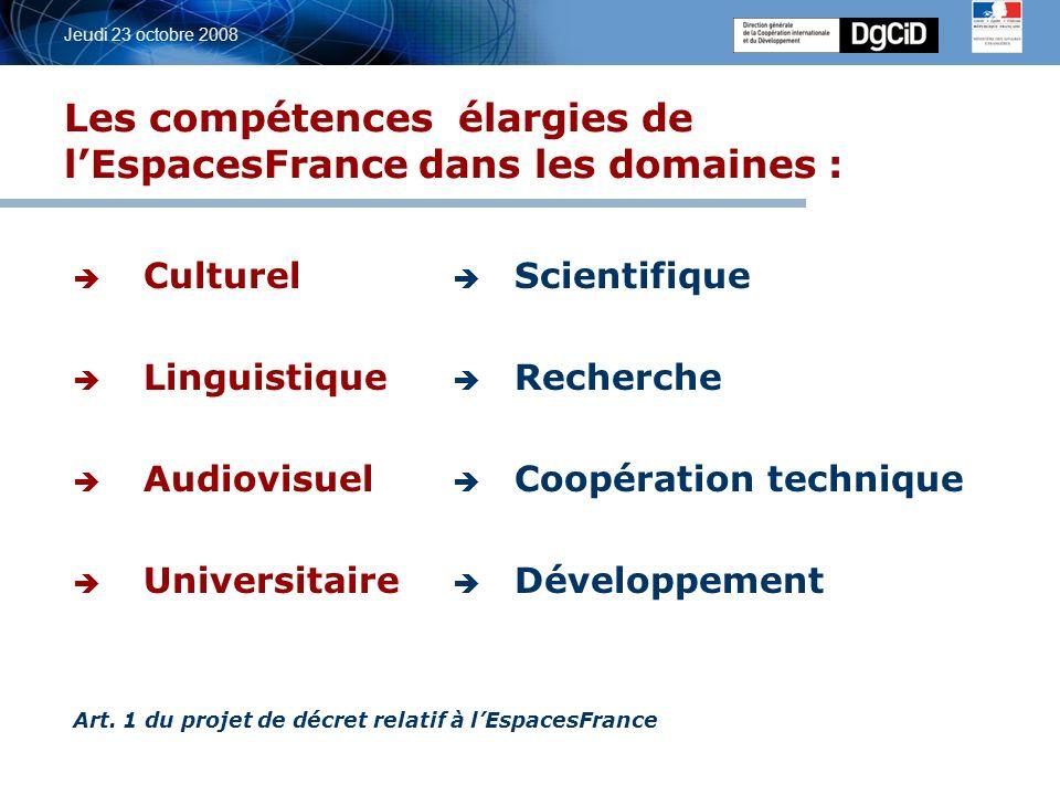 5 octobre 2006 Jeudi 23 octobre 2008 Fusion des SCAC et des EAF au sein des plates-formes « EspacesFrance » Gestion des ressources humaines