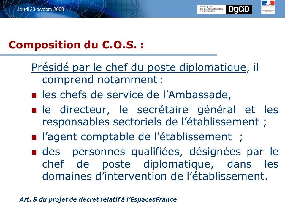 5 octobre 2006 Jeudi 23 octobre 2008 DEPARTEMENT Ambassadeur C ontrat d O bjectifs et de M oyens Programme dactions annuel n, n+1, n+2,…..