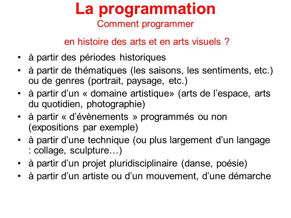 La programmation Comment programmer en histoire des arts et en arts visuels ? à partir des périodes historiques à partir de thématiques (les saisons,