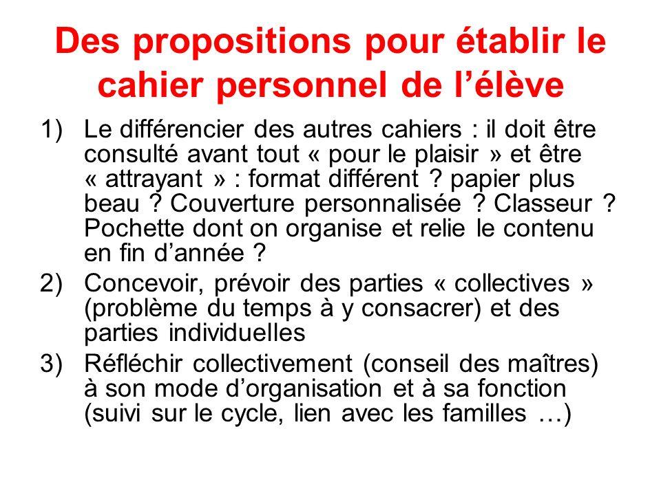 Des propositions pour établir le cahier personnel de lélève 1)Le différencier des autres cahiers : il doit être consulté avant tout « pour le plaisir » et être « attrayant » : format différent .
